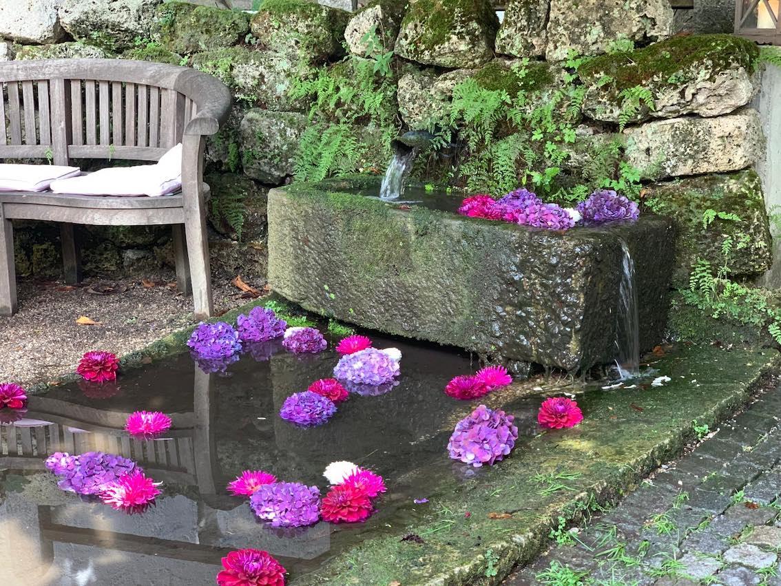 Blumen im Wasserbrunnen als Deko