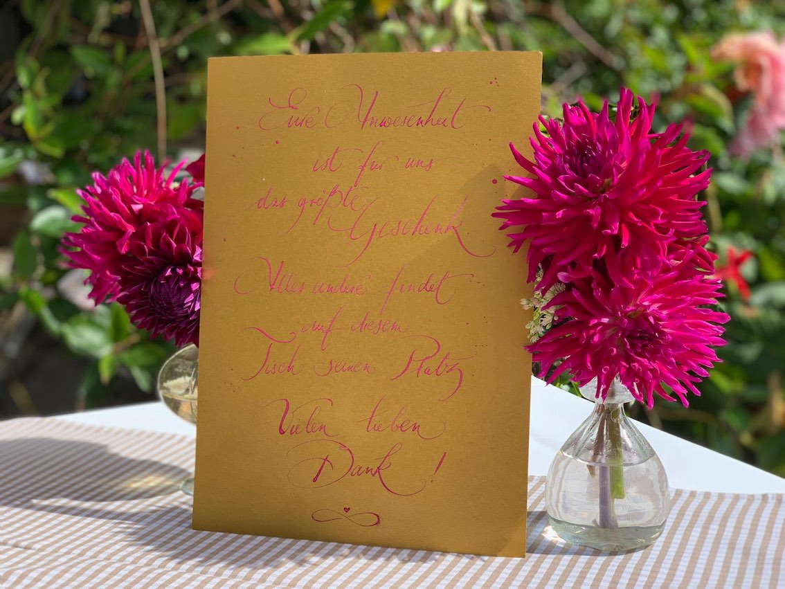 Dankekarte mit Blumendeko